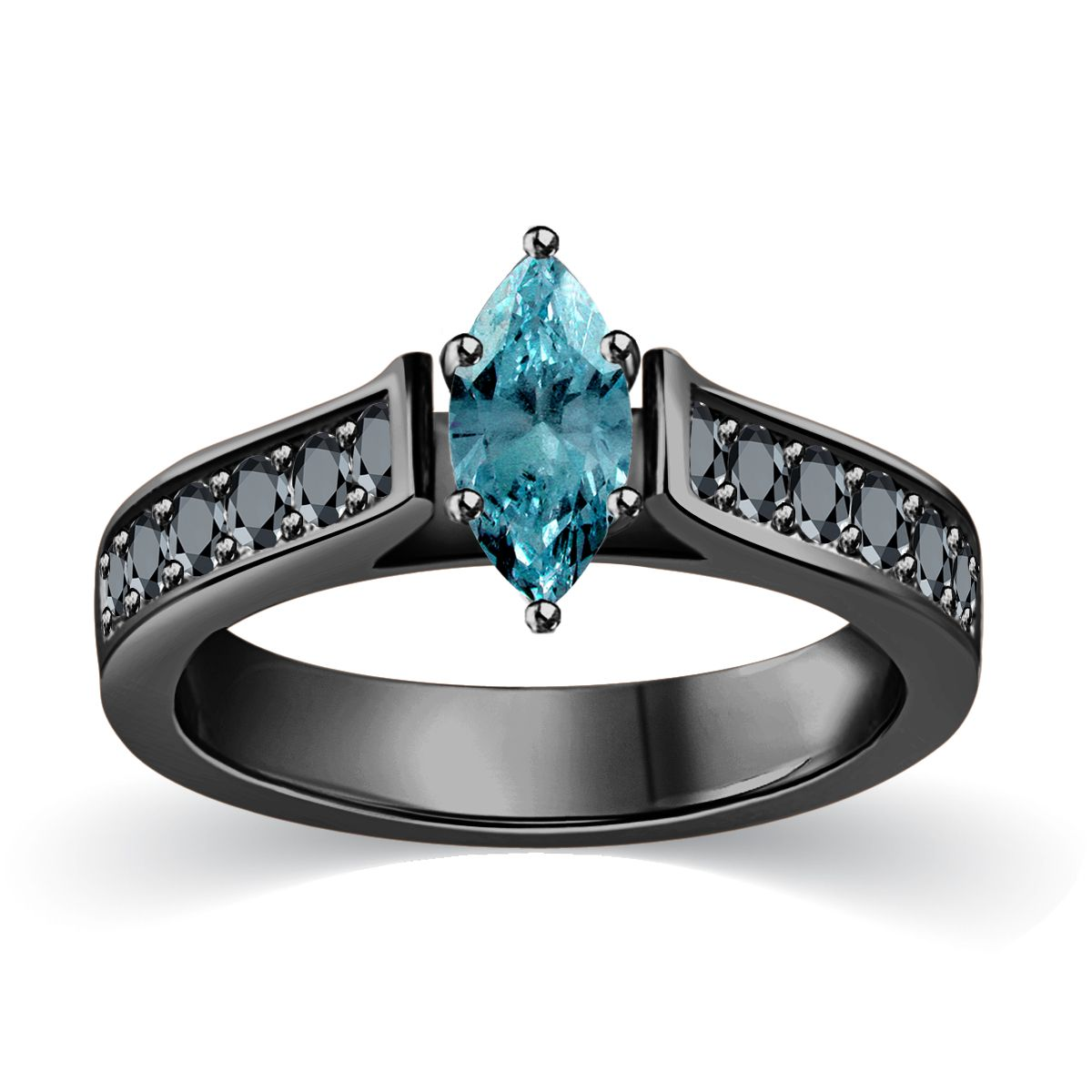 Blue and black marquise cut engagement ring in black gold she said
