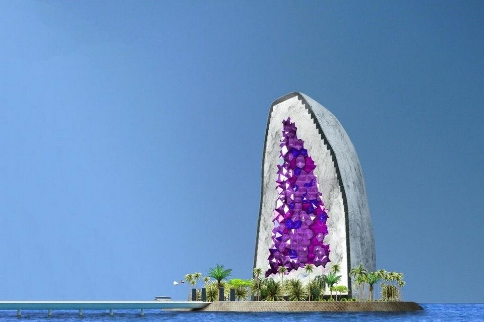 A rendering of the #Amethyst #Hotel on a man-made #island. Could this be coming to #Dubai? Courtesy #NLArchitects