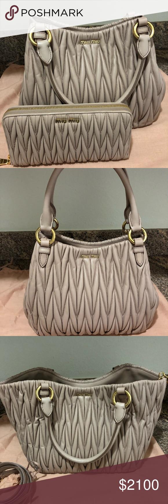 dcc7a85285a0 Miu Miu Matelasse handbag and matching wallet new Miu Miu coveted Matelasse  handbag and matching wallet. Authentic and new. Cammeo color Miu Miu Bags  ...