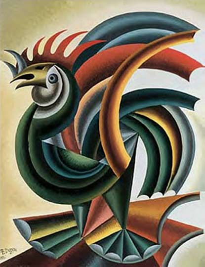 Depero Fortunato Rooster Painting Rooster Art Art Design Art Painting Oil