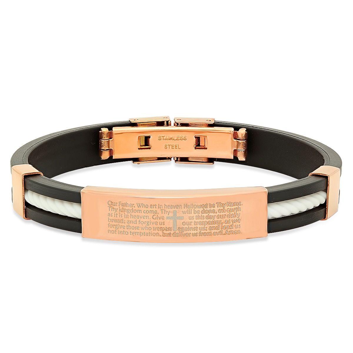 18k Rose Gold-plated 'Our Father' Prayer Bracelet (Orange and Black), Men's, Size: 8 Inch, Pink