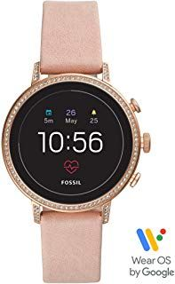 Fossil Women S Gen 4 Venture Hr Heart Rate Stainless Steel And Leather Touchscreen Smartwatch Color Rose Gold Pink Smartwatch Women Leather Straps Smart Watch