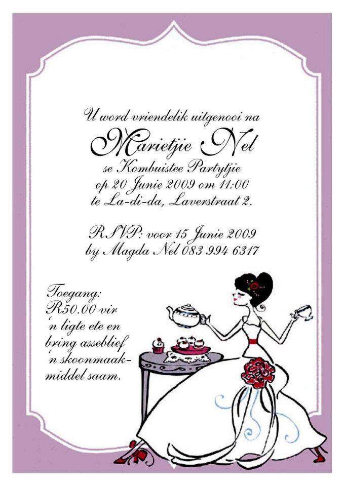 Uitnodiging   Kombuistee   Pinterest   Bridal showers, Bridal showers and Weddings