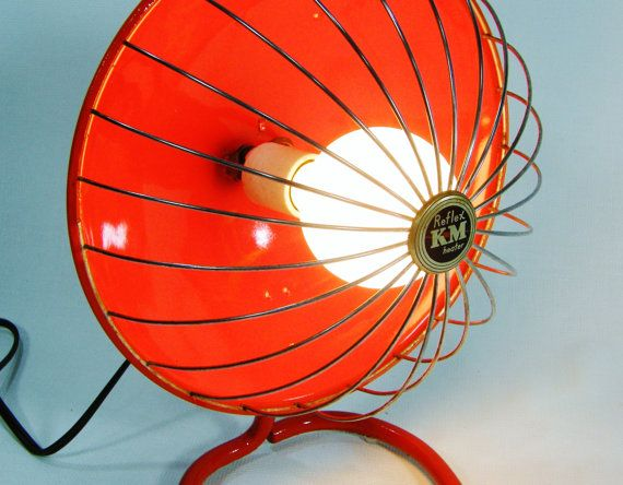 Tangerine Upcycled Lamp Vintage Heater By Ohiopicker On Etsy