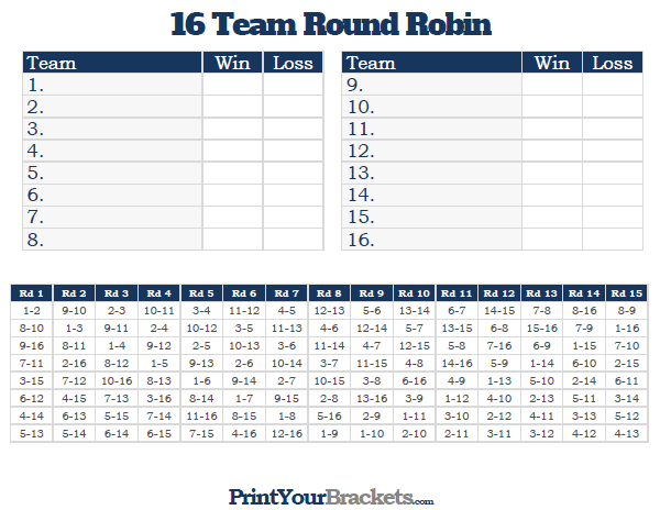 photo about Printable 16 Team Bracket known as 4 Workers Spherical Robin Event Bracket Template