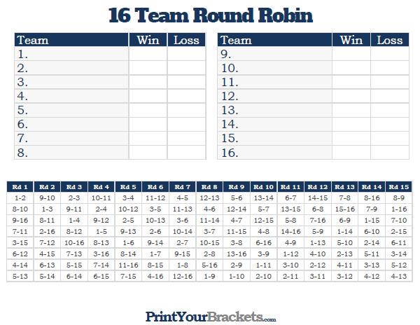 Printable 16 Team Round Robin Tournament Bracket