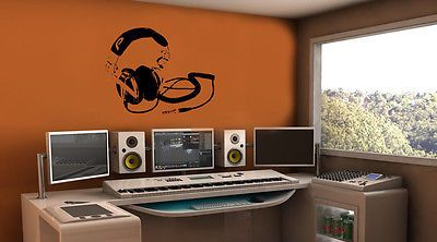 Wall Mural Vinyl Decal Sticker Art Music Studio Dance Speaker Headphones AL009