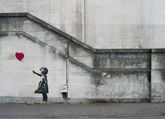 Banksy canvas print, There Is Always Hope, Balloon Girl, Various Sizes, Giclee Print on Canvas, not framed or stretched