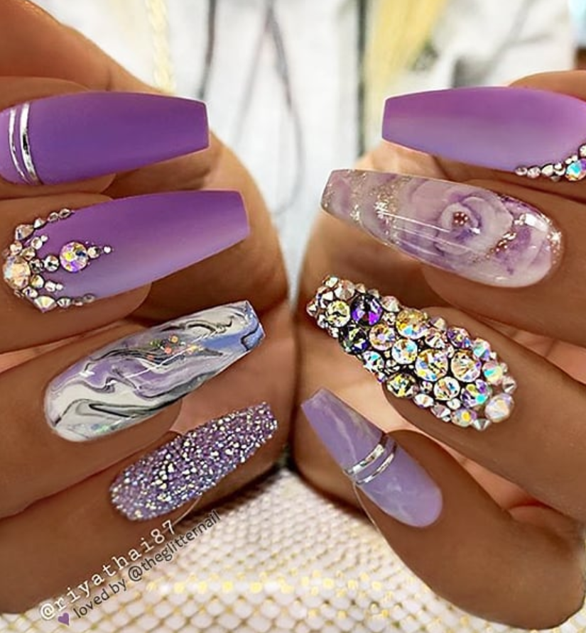 54 Stunning Acrylic Gel Coffin Nails Design For Summer Nails To Look Elegant Page 10 Of 54 Latest Fashion Trends For Woman Coffin Nails Glitter Purple Acrylic Nails Coffin Nails Designs