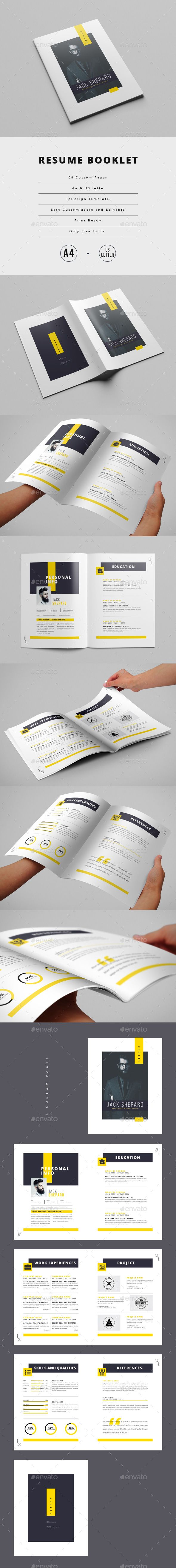 Resume Booklet (8 pages)   Template, Indesign templates and Booklet ...