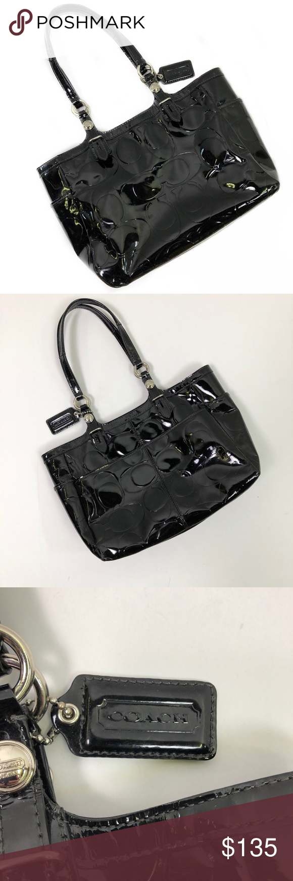 Black Embossed Patent Leather Purse