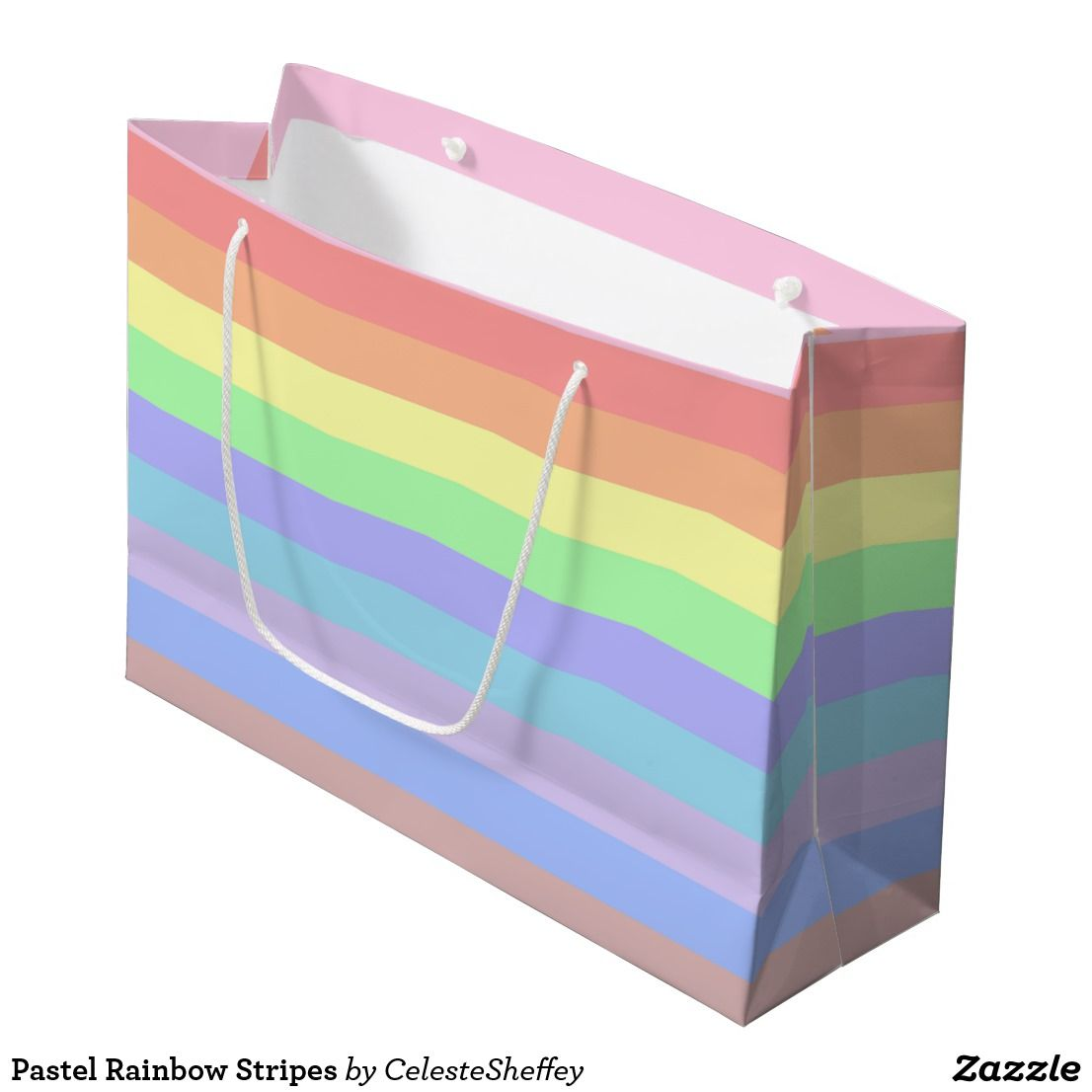 Pastel Rainbow Stripes Large Gift Bag (sold - CA) Thank you!