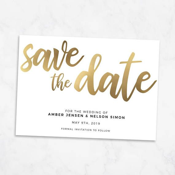 Gold Save The Date Printable Template Editable Download Visuals