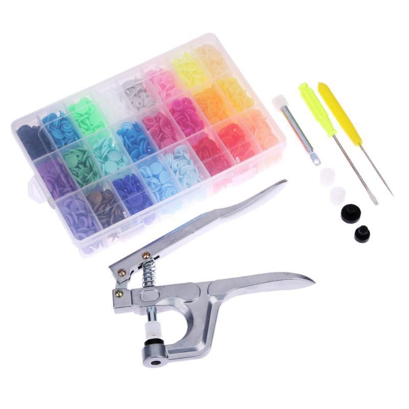 Fastener Snap Pliers Button 360pcs Plastic Resin Press Stud Cloth Tool Kit