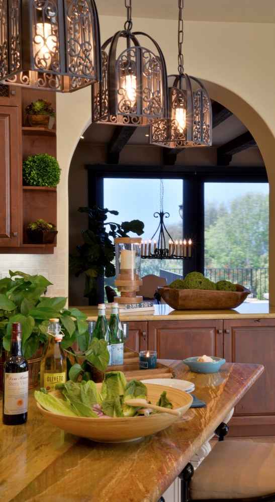 Tuscan Style Love The Light Fixtures And Wood Counter