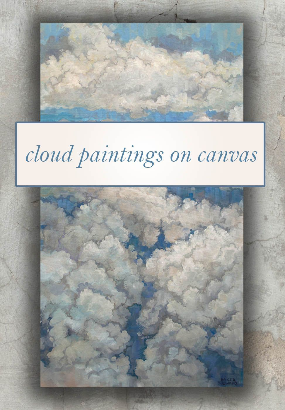 Original paintings of clouds on canvas. Great wall art for many styles of home decor! Prints available. Browse available works at my site, thanks for looking!