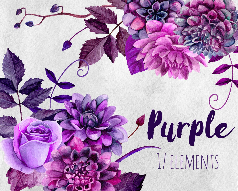 watercolor purple flowers clip art boho bouquet floral clipart violet cottage chic flowers plum dahlias hand [ 1500 x 1202 Pixel ]