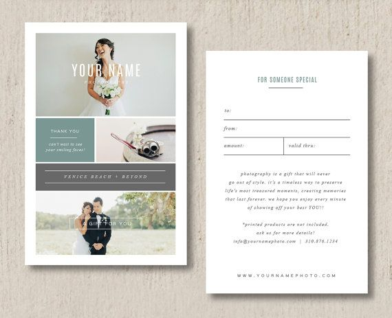 Photographer Gift Certificate Template- Photo Marketing Templates - photography gift certificate template