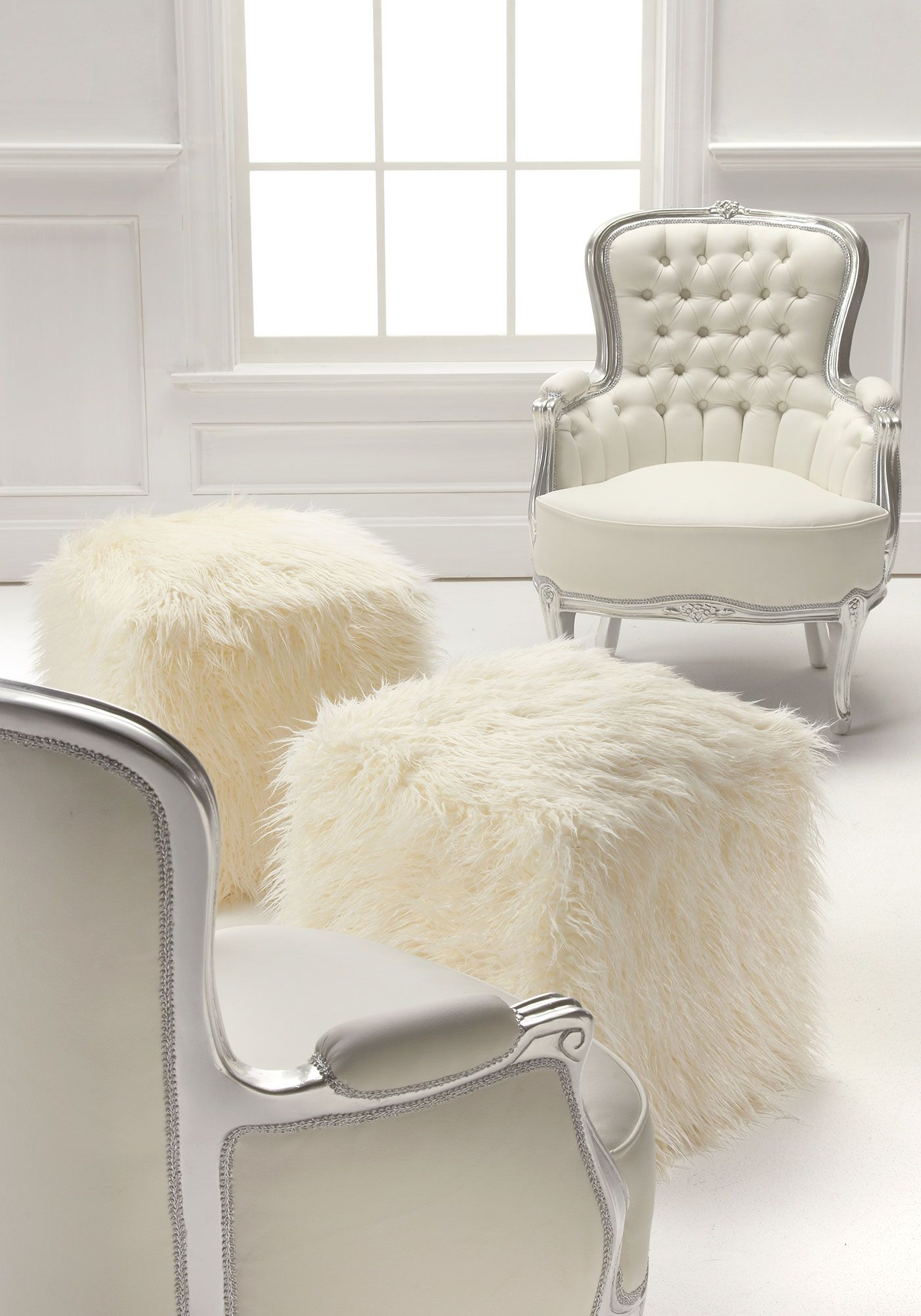 Ivory Mongolian Lamb Faux Fur Pouf Footstool Fabulous Furs