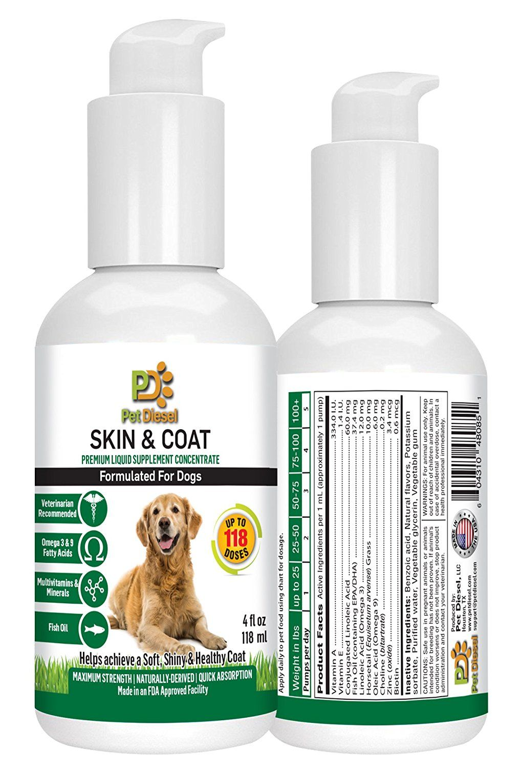 Skin and Coat Liquid Supplement For Dogs By Pet Diesel
