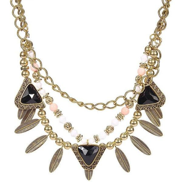 Yoins Yoins Retro Double Row Necklace ($8.09) ❤ liked on Polyvore featuring jewelry, necklaces, black, cocktail jewelry, black gold jewelry, retro jewelry, evening jewelry and black necklace