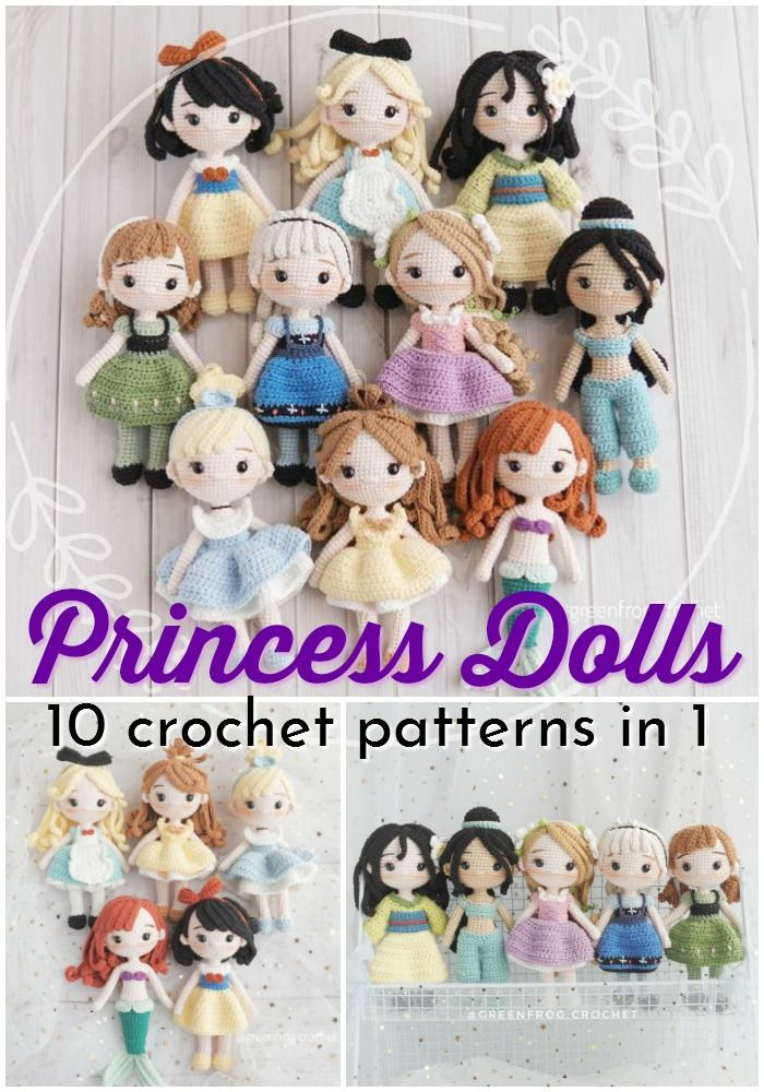 Super gorgeous collection of crocheted amigurumi princess doll patterns! Love these gorgeous Disney-