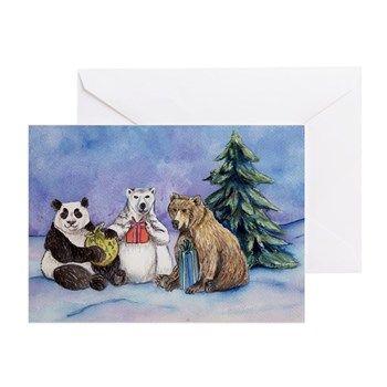 Happy Holiday Bears Art Card Christmas Greeting Card Holiday