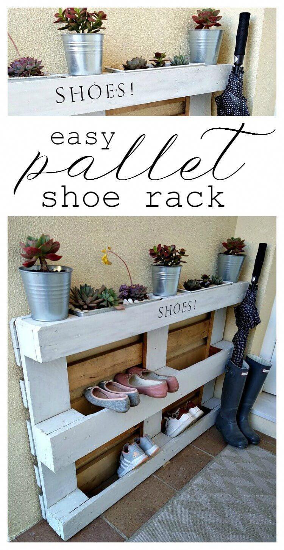 diy easy pallet shoe rack kreativk net pallet shoe rack on wood shoe rack diy simple id=85356