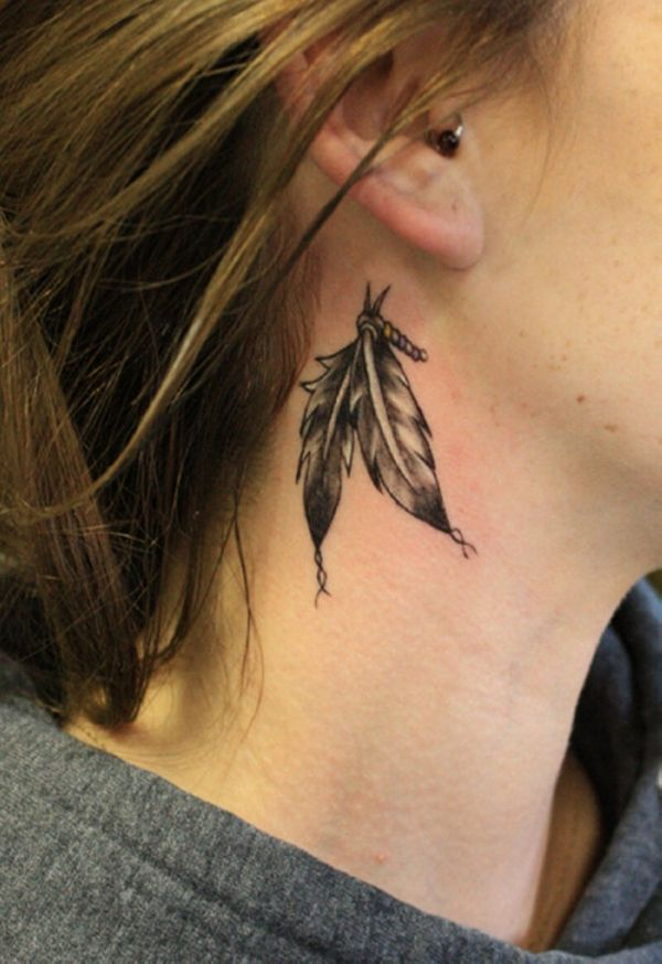 55 Incredible Ear Tattoos Art And Design Small Neck Tattoos Feather Tattoos Feather Tattoo Design