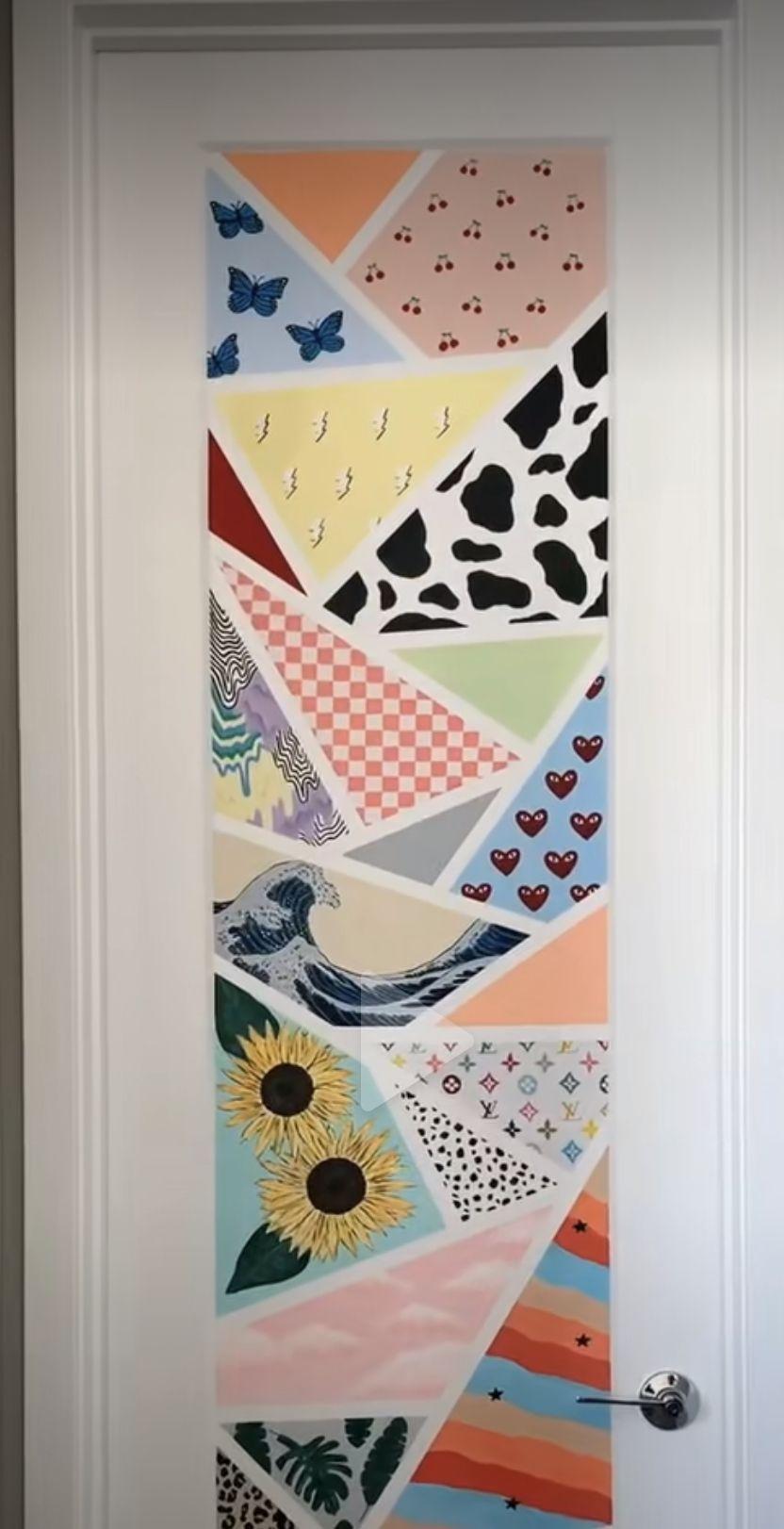 Painted Door From Tiktok 3 In 2020 Painted Bedroom Doors Diy Art Painting Diy Canvas Art