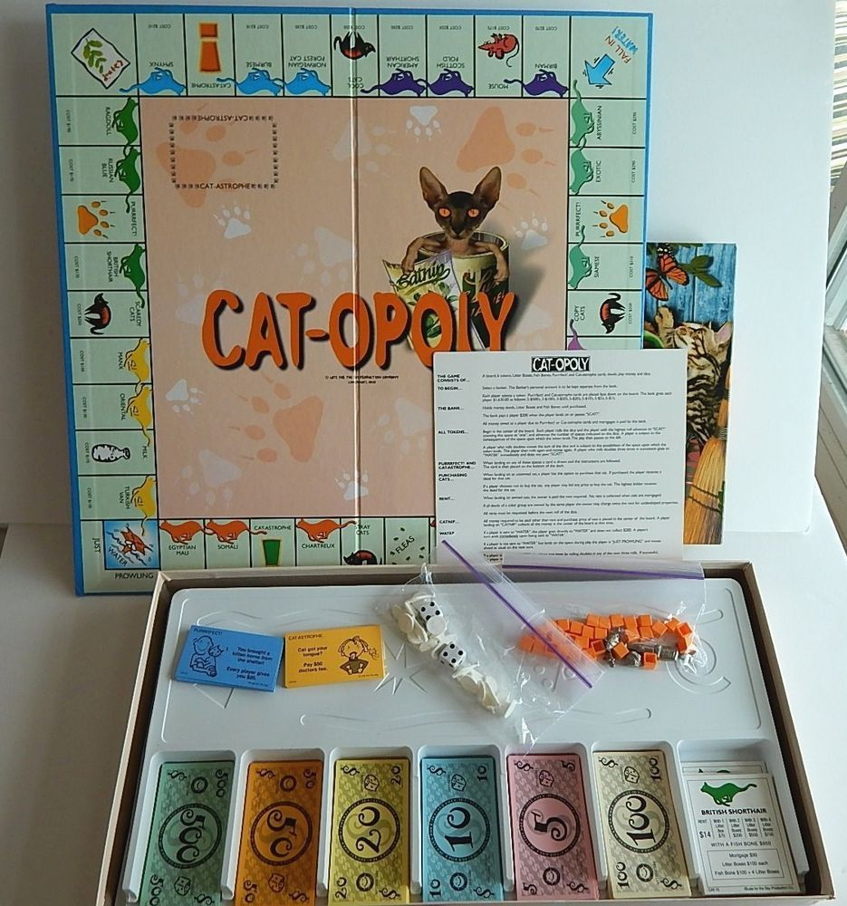 Cat Opoly Catopoly Game Cats Monopoly Board Game Complete Xlnt