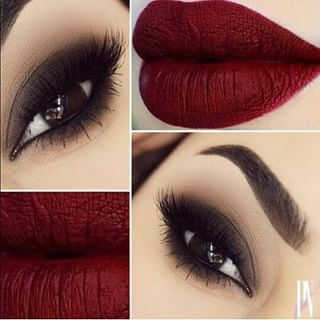 Dark Smokey Eyes And Dark Wine Colored Lips Eye Makeup Beauty