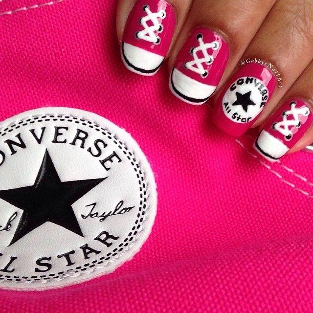 Nail Art Couture Converse Nail Art: Gabbysnailart #nail #nails #nailart
