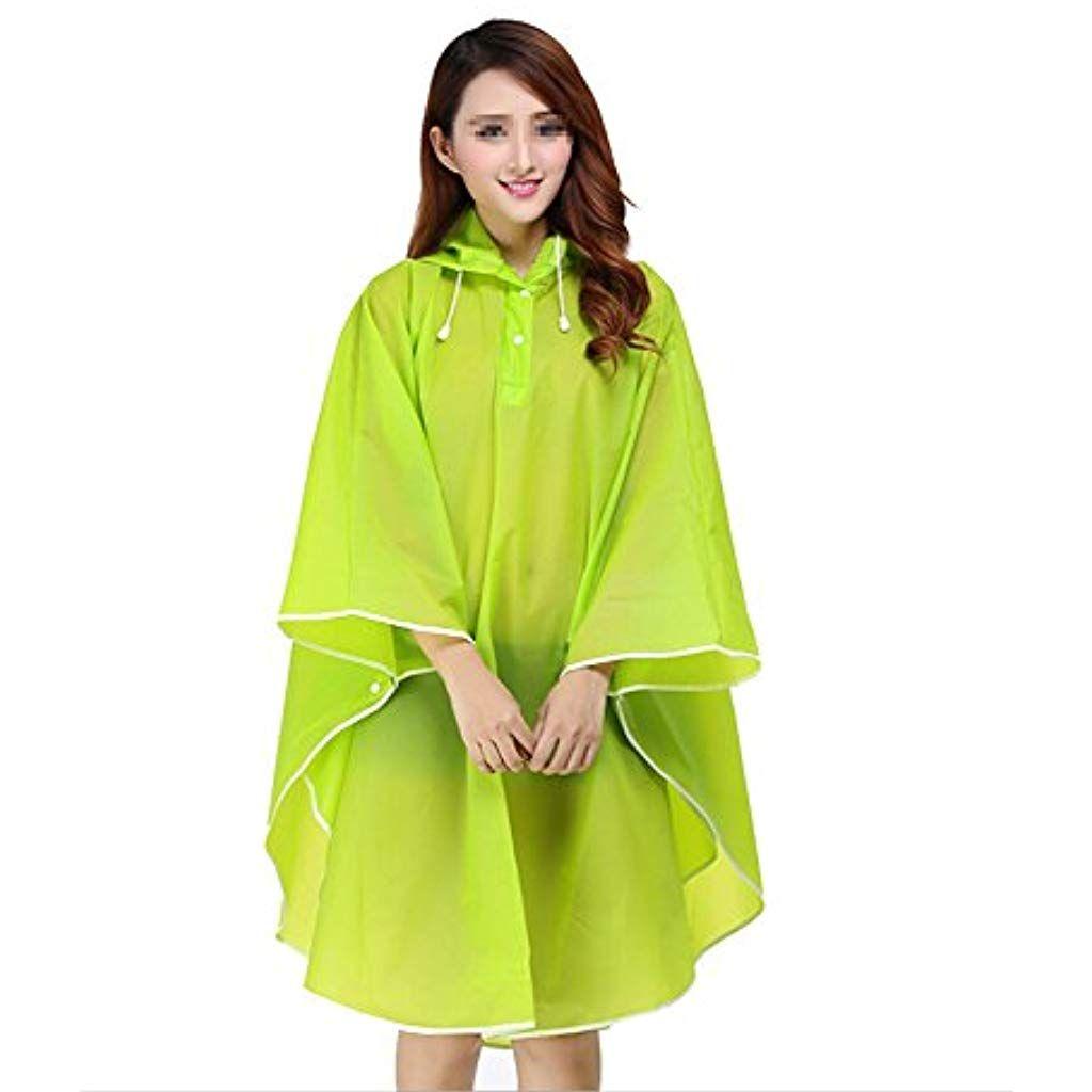 e4193dde6ab TININNA Femme Ponchos Pluie Manteau de Pluie Mode Veste Imperméable Cape  EVA Transparent avec Capuche et