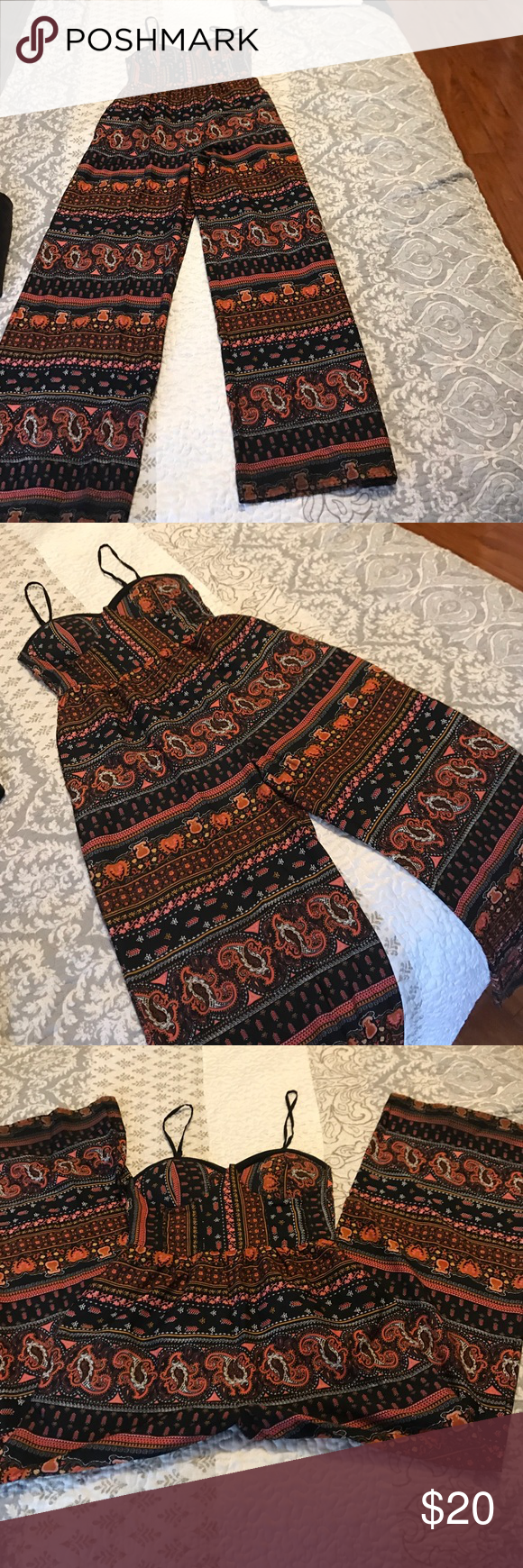 Small wide leg jumper Indian paisley browns Small spaghetti strap one piece Pants Jumpsuits & Rompers