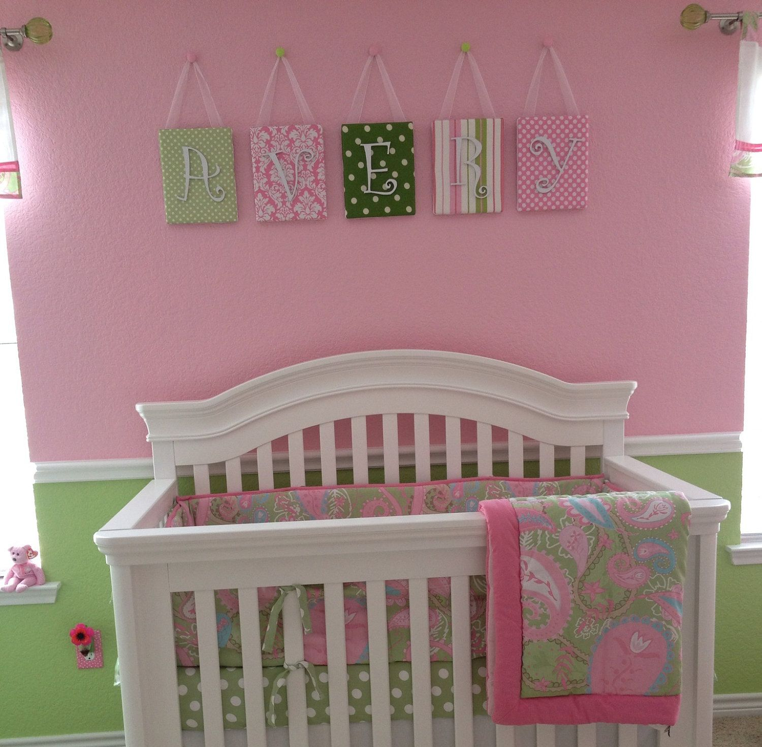 nursery letters wall letters tutti fruitti pink and green nursery pink nursery letters dot. Black Bedroom Furniture Sets. Home Design Ideas