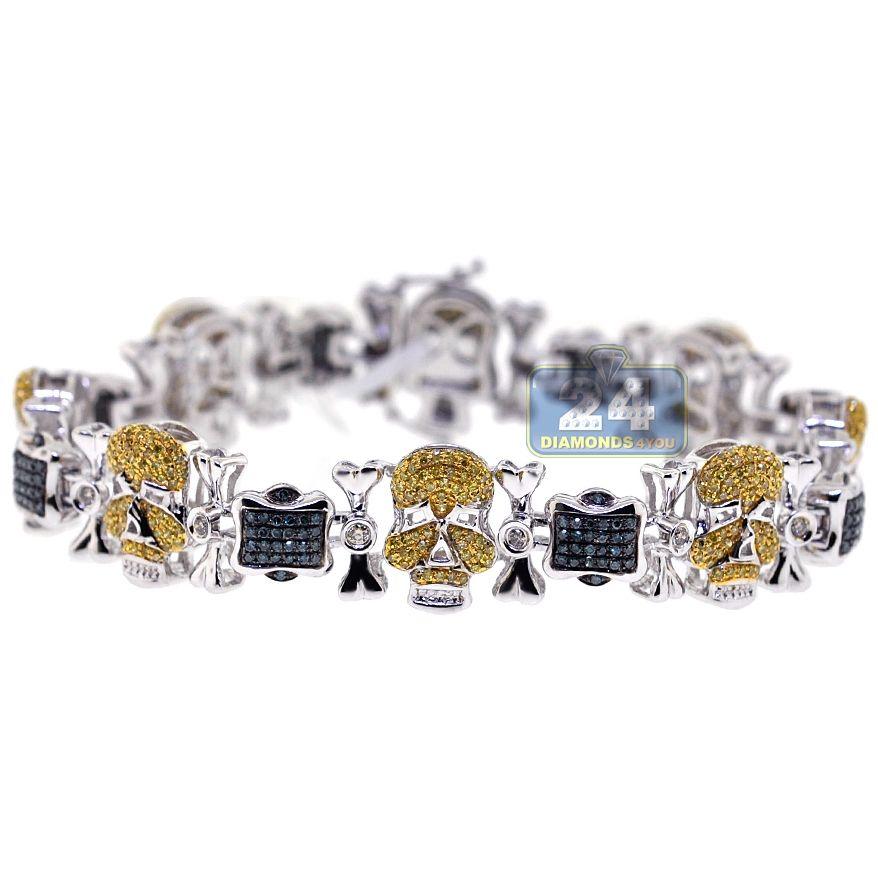 Mens 3 01 Carat Mixed Yellow Blue Diamond Skull Bracelet 14k White Gold