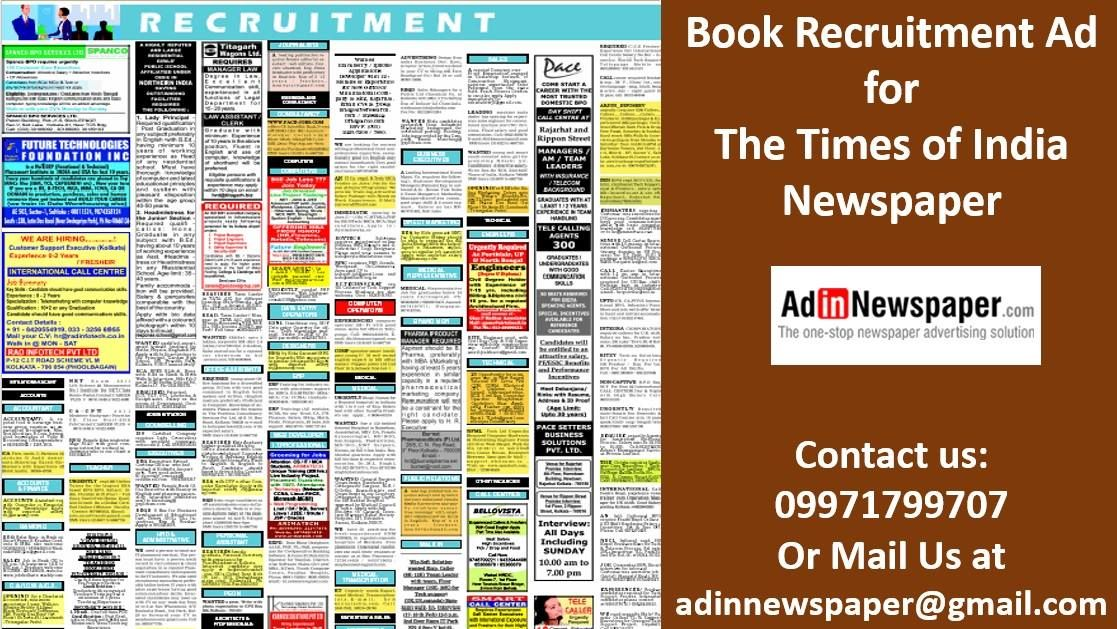 Book The Times of India Recruitment Classified Ads @ Lowest Rates ...