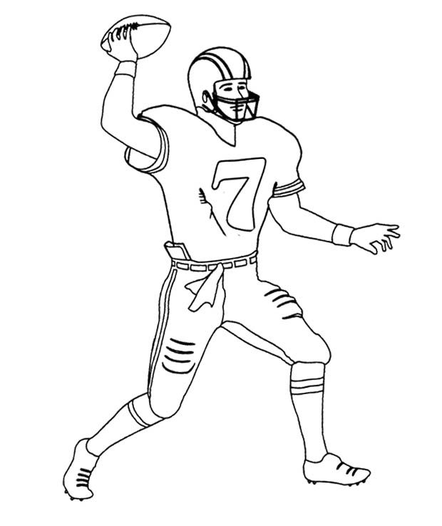 nfl football player number 7 coloring page - Football Coloring Book