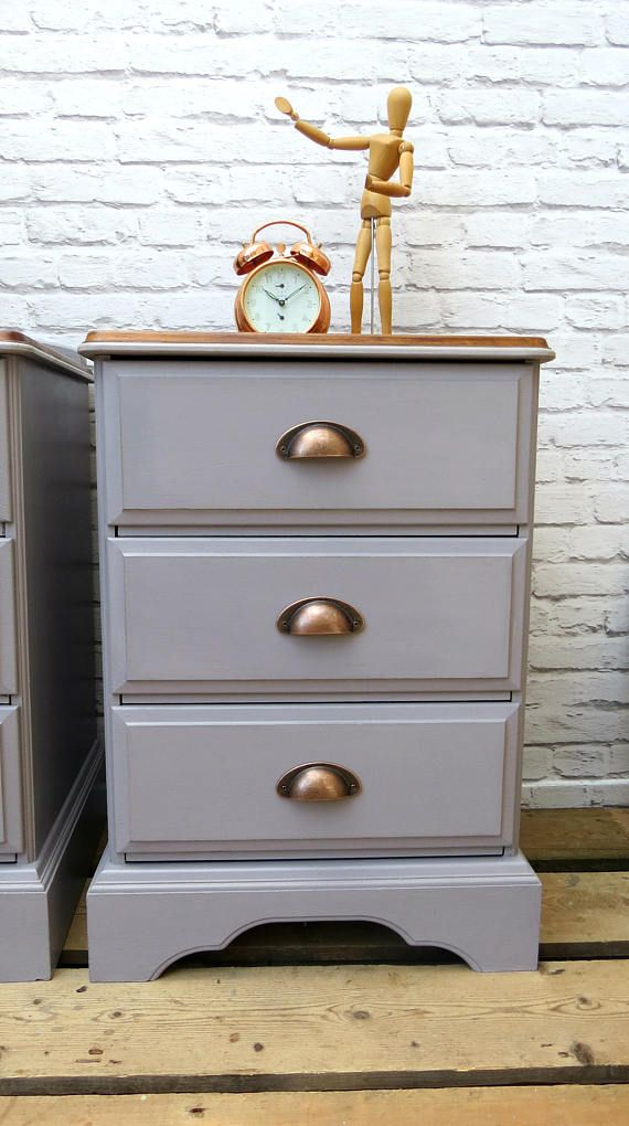 Pair Of Bedside Cabinets Hand Painted Grey With Cup Handles Bedside Cabinet Bedside Drawers Grey Painted Furniture