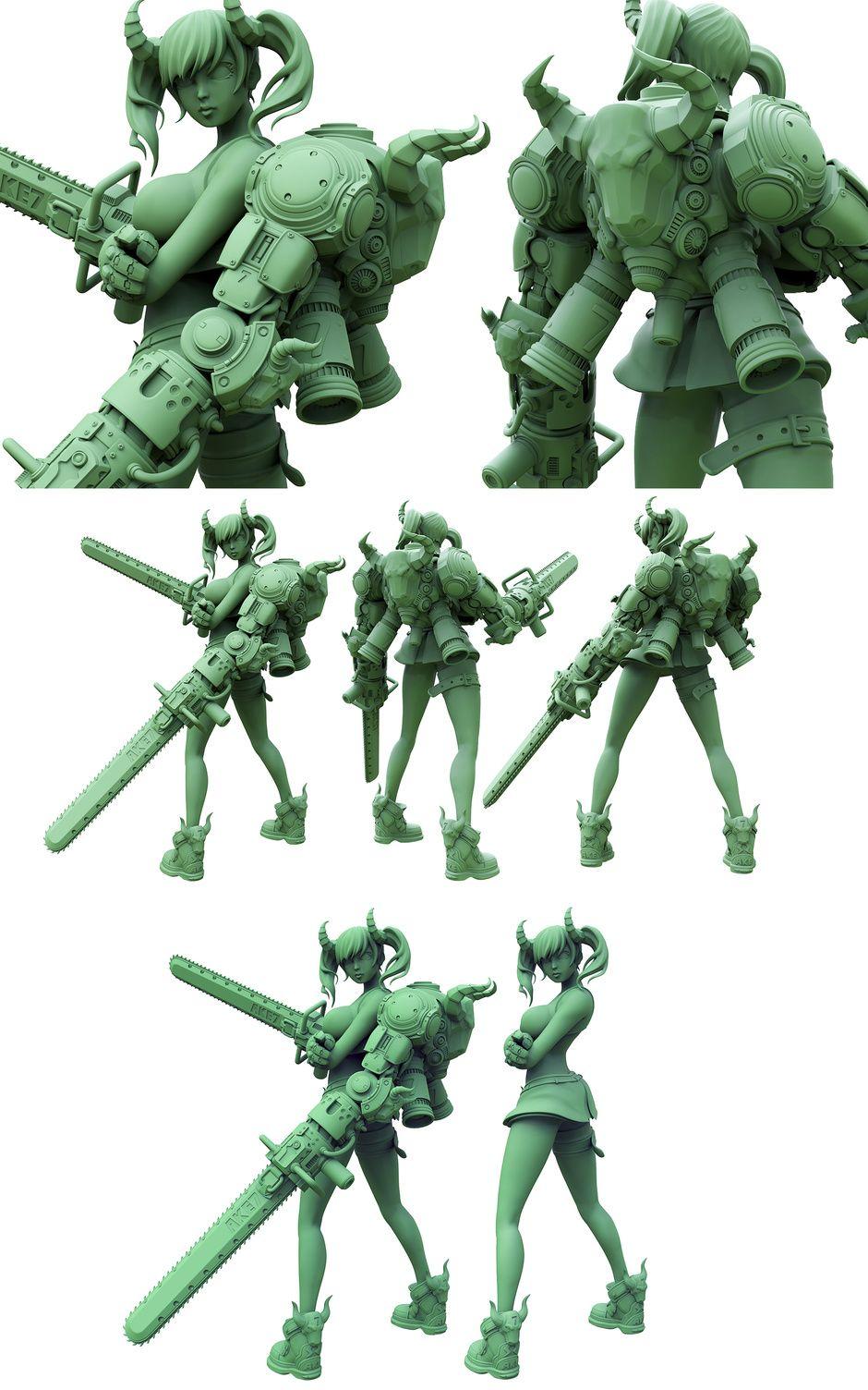 Anime style character sculpt by kieran mckay anime 3d