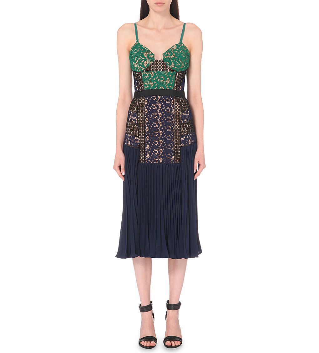 Self Portrait Embroidered Lace And Pleated Dress