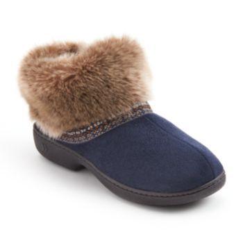 Isotoner Elissa Woodlands Microsuede Faux-Fur Bootie Slippers - Women