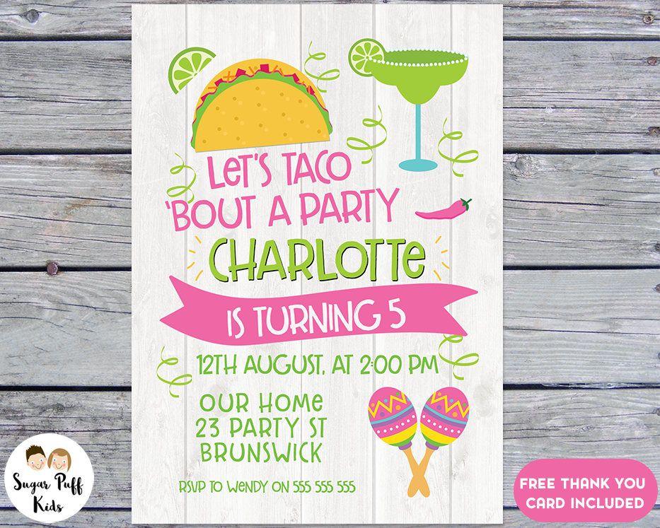 Girls Fiesta Birthday Party Invitation, Taco Birthday Invitation ...