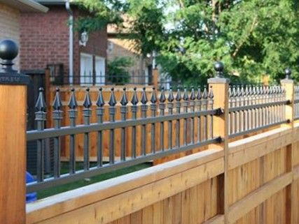 Metal Spike Topped Wood Privacy Fence Rustic Fence Easy Fence Backyard Fences