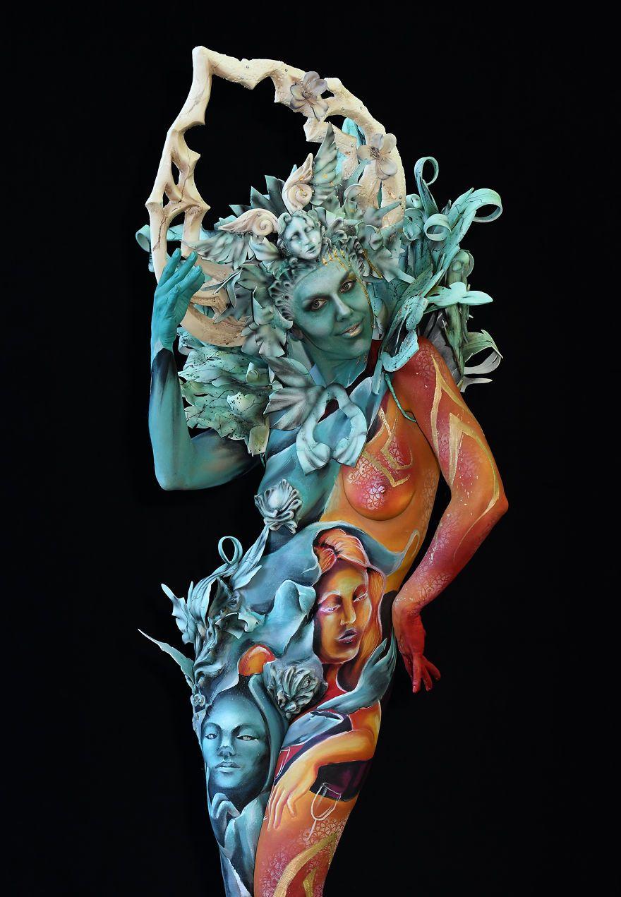 Fotografei Espetaculares Obras De Arte No Festival Mundial De Pintura Corporal 2018 World Bodypainting Festival Cool Artwork Body Art Painting