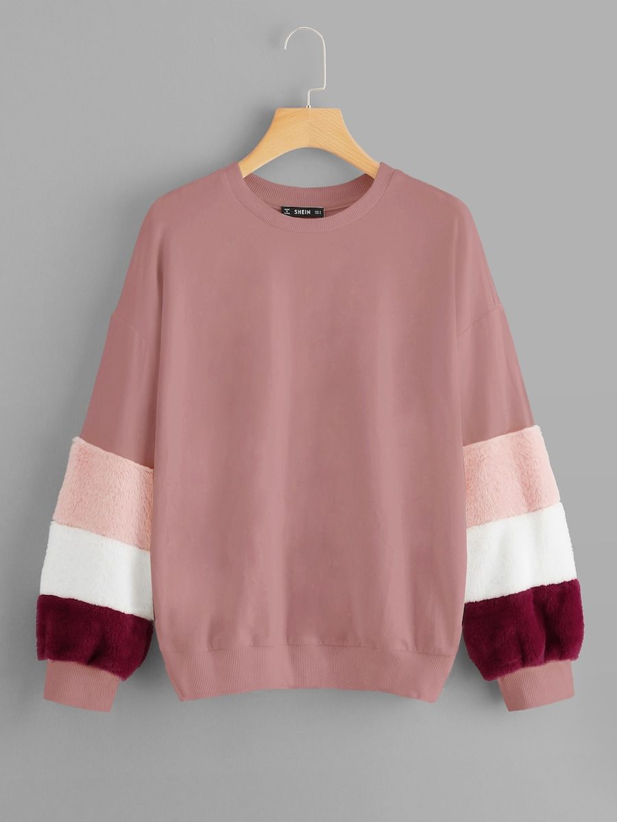 Color Block Fleece Sleeve Sweatshirt Shein Sheinside Stylish Hoodies Sweatshirt Outfit Hoodie Fashion [ 1199 x 900 Pixel ]