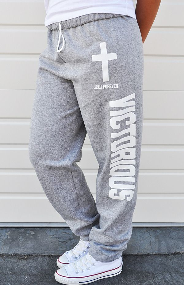 LOOSE FIT- VICTORIOUS- SWEAT PANT-ASH HEATHER by JCLU Forever Christian t-shirts