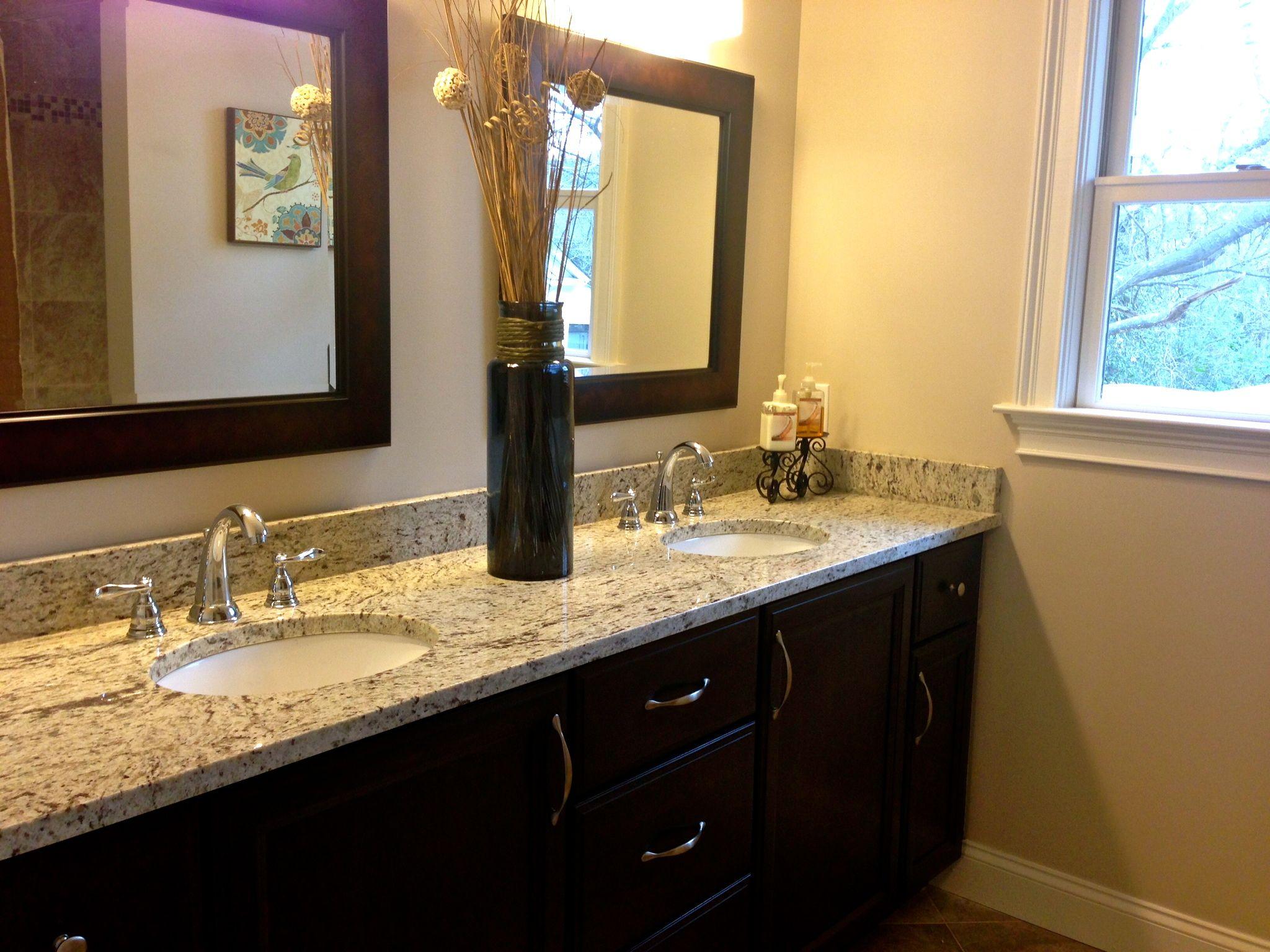 Shared Upstairs Bathroom Double Vanity Double Sinks Granite