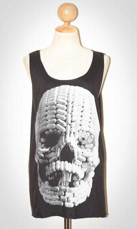 Pill Skull Halloween Charcoal Black Tank Top Sleeveless Women Singlet Art Punk Rock T-Shirt Size M